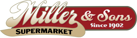 A theme logo of Miller and Sons Supermarket